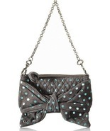 NEW JUICY COUTURE Flirty Suede Polka Dot Gray & Blue Clutch Bag (MAKE AN... - $137.21