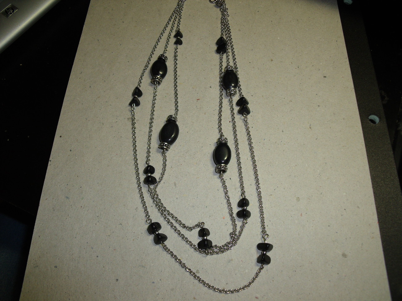 Vintage multiple chain necklace with black beads