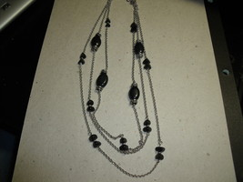 Vintage multiple chain necklace with black beads - $20.00