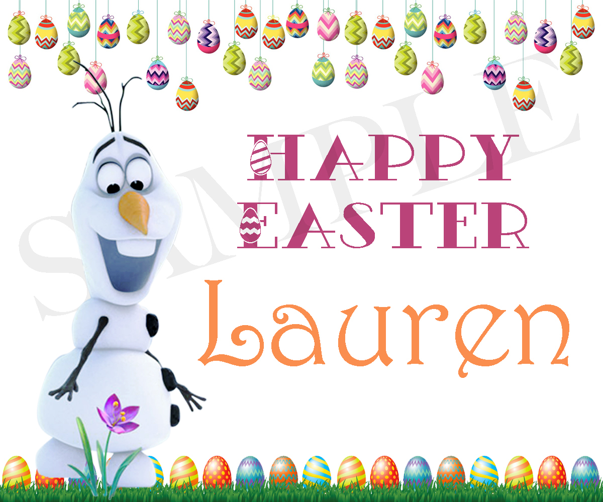 Olaf Easter Basket Sticker, Waterproof and Personalized