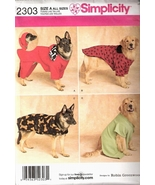 Simplicity 2303 Size A Sewing Pattern Extra Large All Sizes Dog Coats  - $12.95