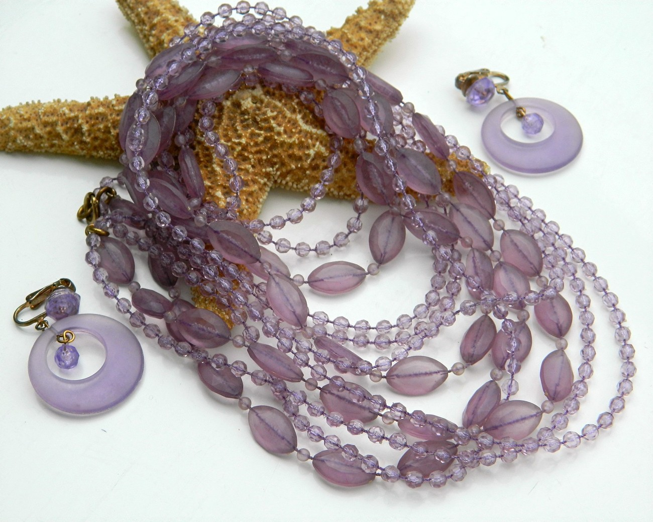 Vintage bead necklace multi strand lavender purple earrings