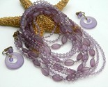 Vintage bead necklace multi strand lavender purple earrings thumb155 crop