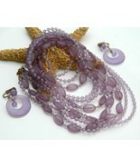 Vintage bead necklace multi strand lavender purple earrings thumbtall