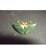 Vintage Jade & Coral Butterfly Pin/Pendant - $40.00
