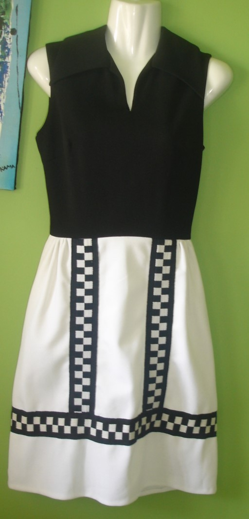 80's Gay Gibson Black & White Cocktail Dress