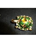 Turtle Pin Enamelled and Bejeweled on Goldtone - $60.00
