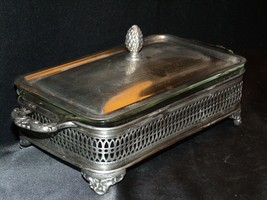 Sterling Silver Server  with Fire King Glass Ware AA-191818  Antique