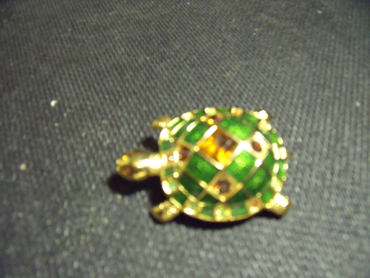 Turtle Pin Enamelled and Bejeweled on Goldtone