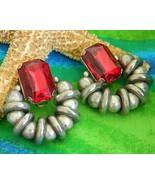 Vintage Silver Ball Hoop Earrings Chunky Red Rhinestone Huge - $28.95