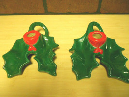 PAIR OF VINTAGE CHRISTMAS CANDLE HOLDERS - $2.99