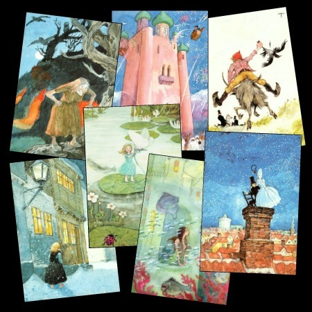 12 Pretty Cards w/ Hans Christian Andersen's Fairytales