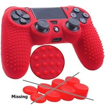 Playstation 4/SLIM/PRO Studded Silicone Cover Controller Skin Grip Set, Red - £14.42 GBP