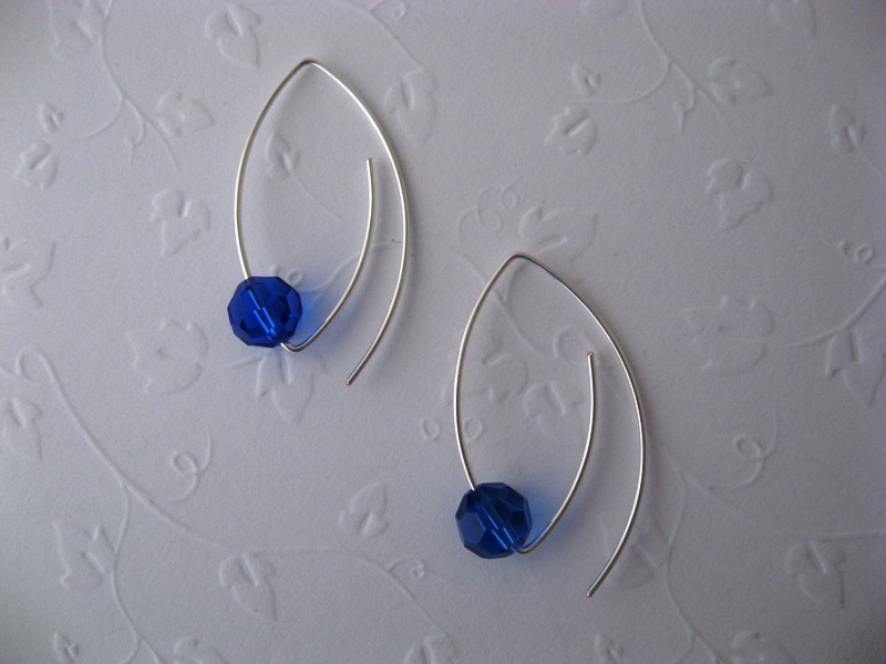 Marquise Sapphire Crystal Earrings Handmade by Chula