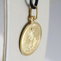 SOLID 18K YELLOW GOLD OUR MARY LADY OF THE GUARD 15 MM ROUND MEDAL MADE IN ITALY image 3