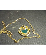 Vintage Golden Filigree Heart with Jade Heart Inset Pendant and Chain - $35.00