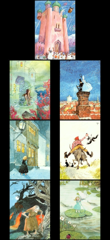 7 Pretty Cards w/ Hans Christian Andersen's Fairytales