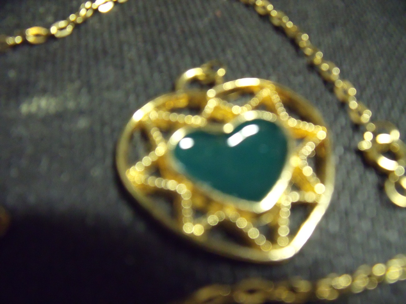Vintage Golden Filigree Heart with Jade Heart Inset Pendant and Chain