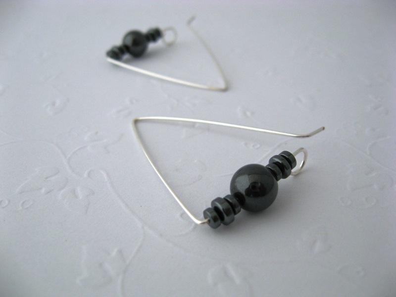Deltoid Hematite Gemstone Earrings Handmade by Chula