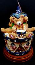 Russ Berrie ODE TO AMERICA Patriotic Bears Figurine flag 4 Bears Instruments - $22.74