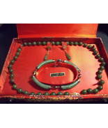 Jade necklace, bracelet and earring set in box-vintage - $275.00