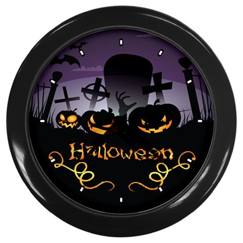 Halloween Punpkin Custom Black Wall Clock