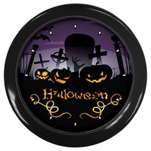 Halloween Punpkin Custom Black Wall Clock - $19.95