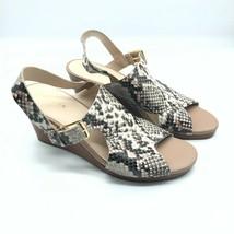 Cole Haan Womens Wedge Sandals Slingback Snake Print Leather Open Toe Beige 8.5 - $48.37