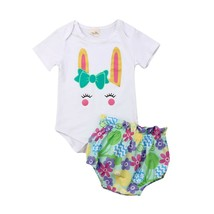 2019 Newborn Baby Girls EASTER Clothes Bunny Romper Jumpsuit Ruffle Flow... - $10.69