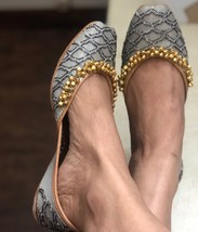 Gold and silver sequinned bridal shoes,Grey silver women jutti,Indian Et... - $53.99