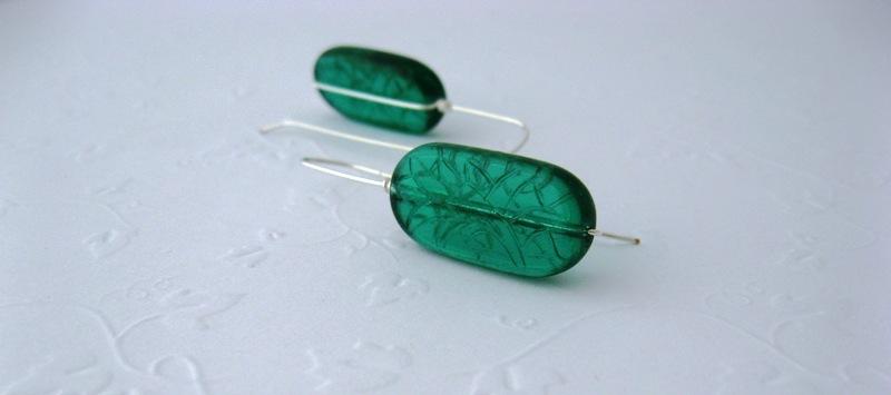 Mod Drop Emerald Glass Earrings Handmade by Chula