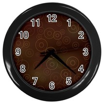 Brown Circles Custom Black Wall Clock - $19.95
