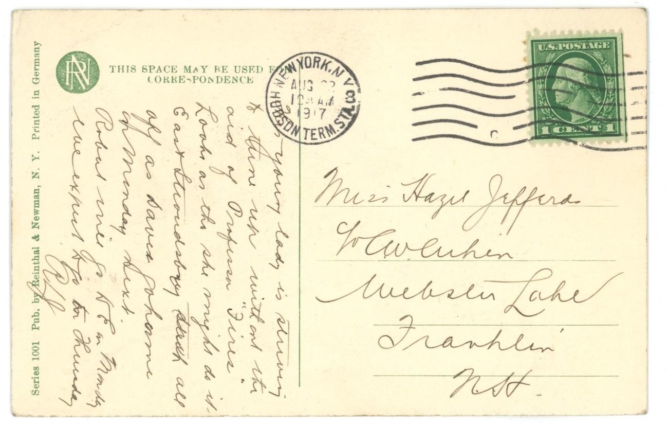Tuning Up vintage postcard lady mandolin R&N Co Victorian antique