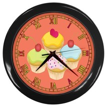 Cupcakes Custom Black Wall Clock - $19.95