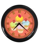 Cupcakes Custom Black Wall Clock - $19.95