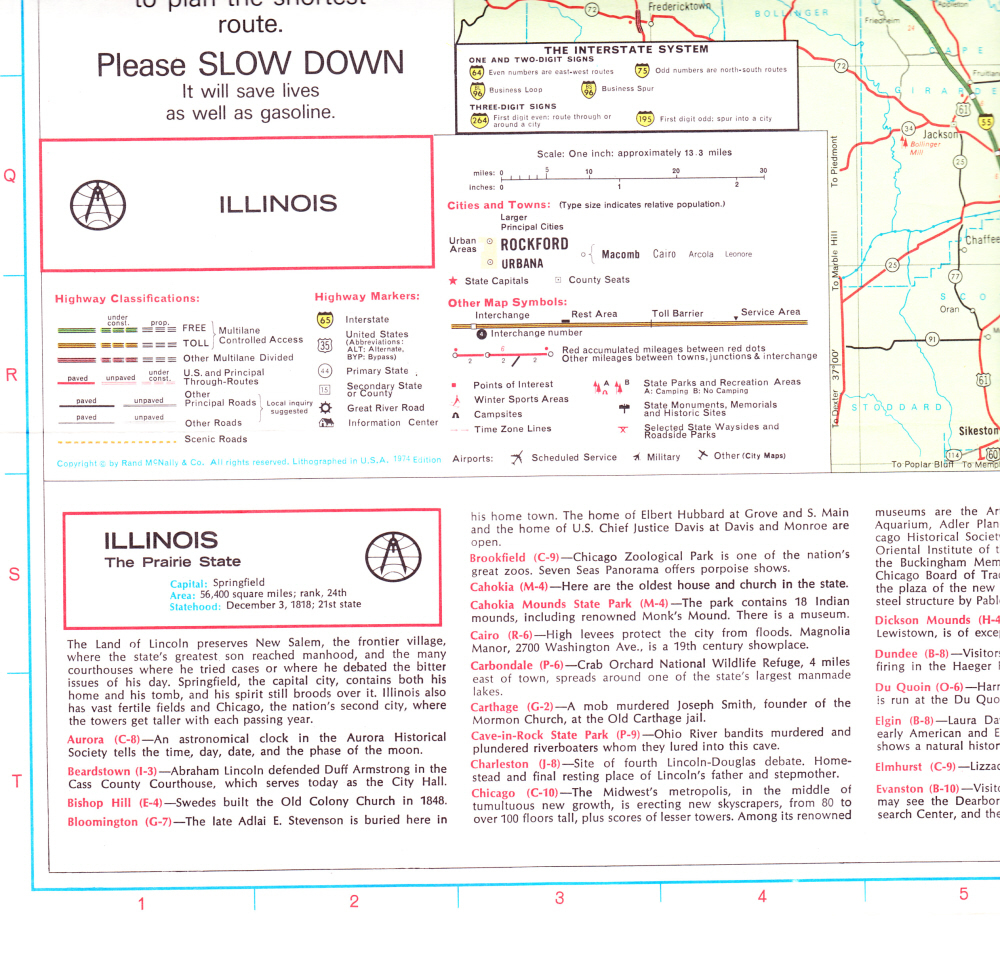 State of Illinois Map Rand McNally Dated 1974