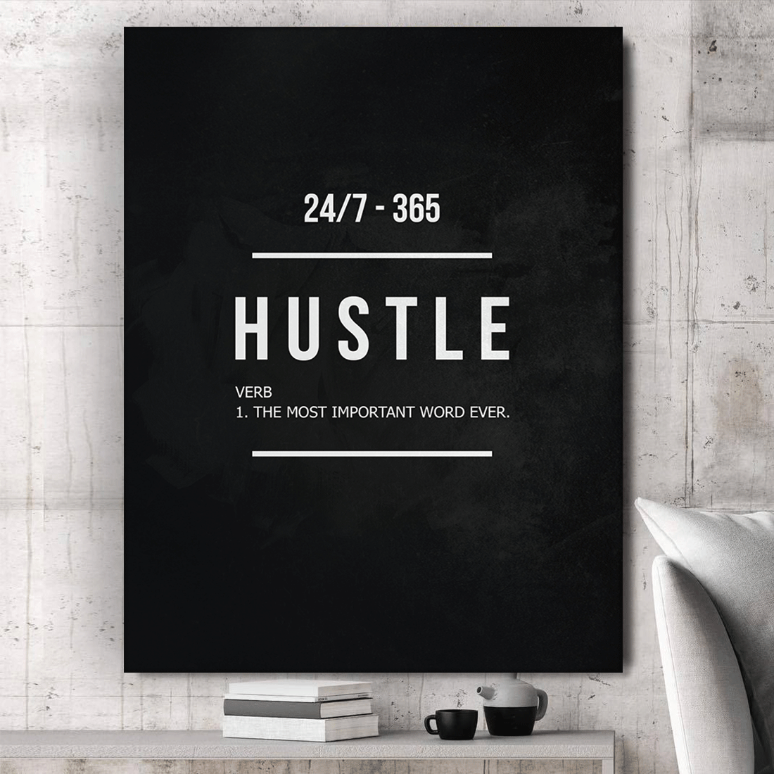 "Hustle Entrepreneur Canvas Print Office Wall Decor Modern Art 48"" x 36"" Inches image 4"