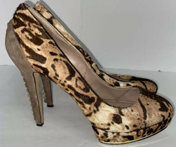 Vince Camuto Fuzzy Animal Print Heels Shoes w Metal Studs Sz 10 B  40 - $39.55