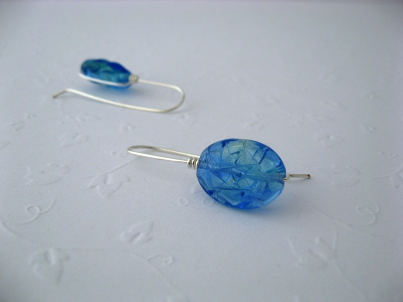 Mod Drop Blue Glass Earrings Handmade by Chula