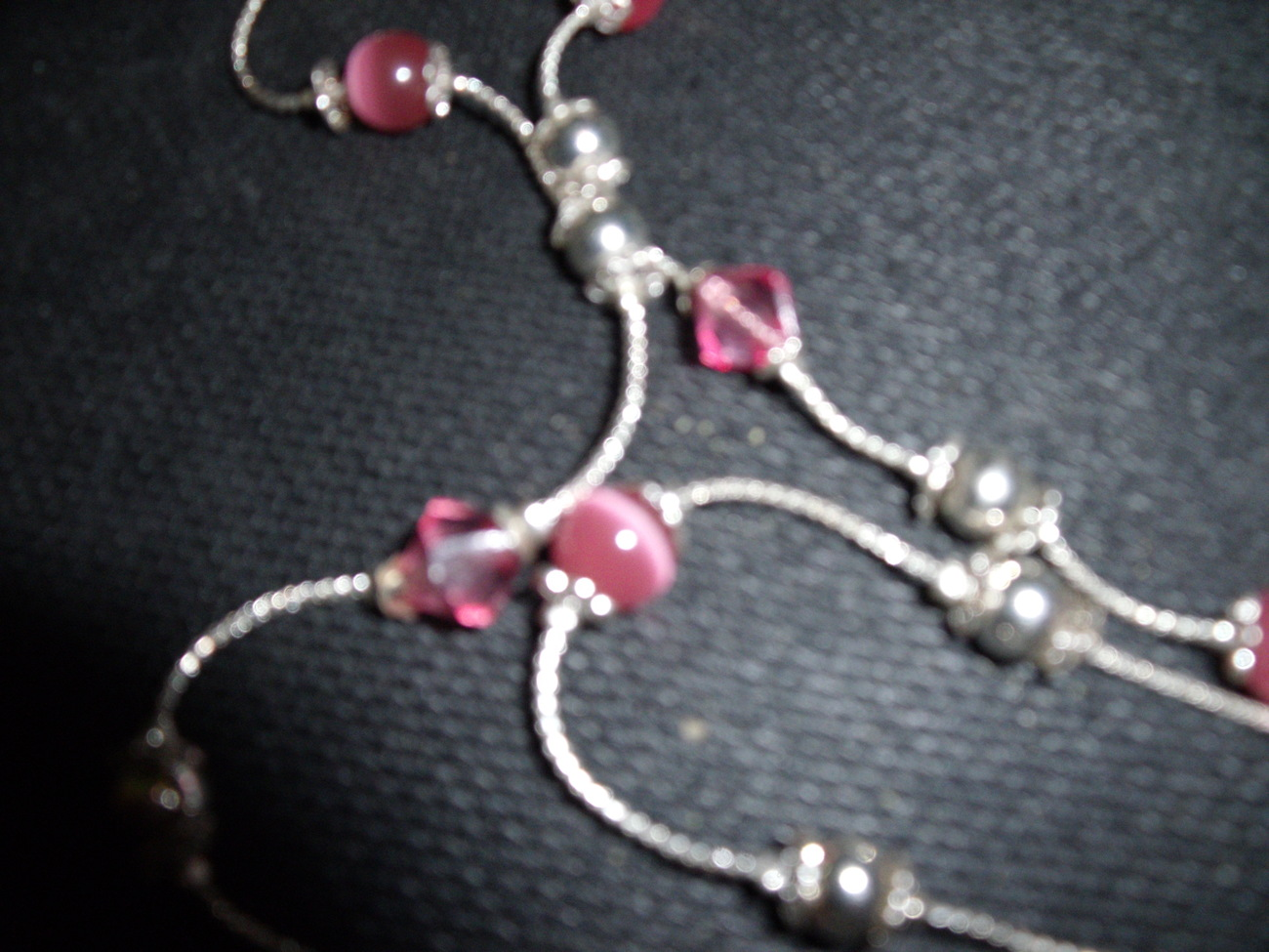 Silver Double Chain Pink and Silvertone Beaded Necklace-Vintage
