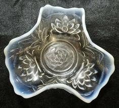 Antique Fenton Waterlily & Cattails White Opalescent Tri-Corner Bowl, 19... - $20.25