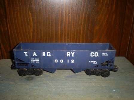 Vintage Lionel TA & G Blue Two Bay Hopper, 6-9012, O & 027, Metal Wheels & Axel
