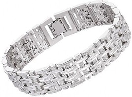 U7 Men Platinum Plated Link Bracelet Classic Curving Wrist Chain Solid Bangle - $36.67