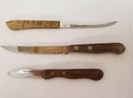 """Vtg Knife Bundle Set of 3 Travco 8"""" Robinson 8.5"""" Steak Knife Ekco Vanad... - $15.44"""