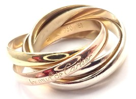Authentic! Cartier Trinity 18k Tricolor Gold 5 Band Ring Size 53 - $2,700.00