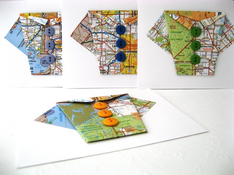 Recycled Origami Note Card Set Handmade by Chula