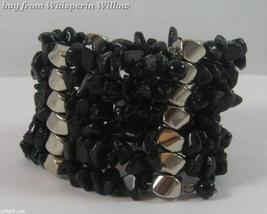 Black Onyx Matrix Necklace / Bracelet Lariat - $24.95
