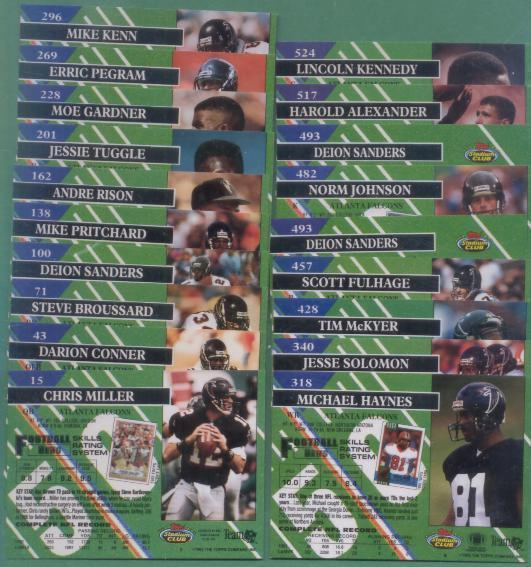 1993 Stadium Club Atlanta Falcons Football Team Set