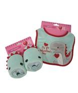 Walgreens Babys 1st Valentine Dinosaur Bib And Booties Teal & Red - $10.19