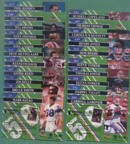1993 Stadium Club Buffalo Bills Football Team Set